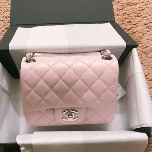 707d2e2ae1 Authentic Chanel 18S Mini square light pink purse
